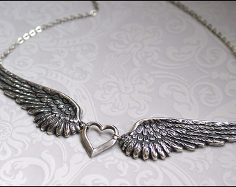 Angel Wing Necklace -Silver Wing Jewelry- GORGEOUS DETAILED Angel Wing Pendant PERFECT for her, Mother, Sister, Friend Gift Chic Necklace