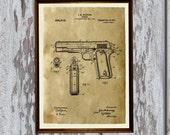 Vintage style wall decor Handgun poster Pistol patent print  AKP10