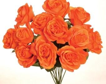 "1 New Silk Orange Rose Bush, 12 Orange Roses 3.5"" in diameter."