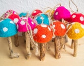 Felted Mushroom Ornaments with Twine Hangers - Set of 6 Colour Mix Felted Waldorf Toadstools Upcycled Wood