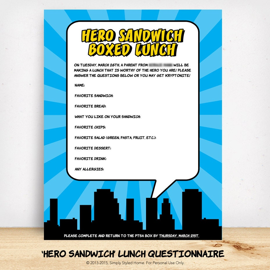 CUSTOMIZED 'Hero' Sandwich Lunch Questionnaire by SimplyStyledHome