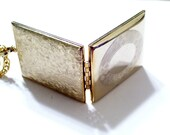 Vintage Book Locket , Gold Plated Photo Locket, Removable Frames, Reversible Locket, Textured Basketweave Rectangular Pendant Necklace