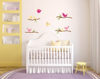 tree branch decal set - wall decals - bird decal - nursery wall decals - kids decals - vinyl wall decal - removable wall decal