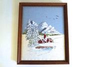 Large Framed Crewel Winter Mountain Scene - Framed Crewel Embroidery