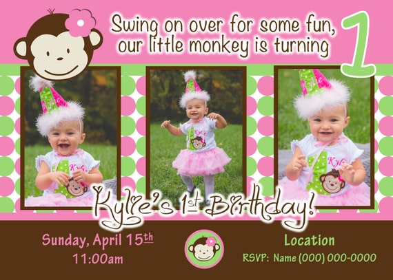 6 month twin photo ideas - Monkey Invite Mod Monkey Invitation 1st Birthday