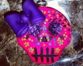 Polymer Clay Sugar Skull- Colorful Sugar Skull Pendant/Bow Center/Magnet (Hot Pink)