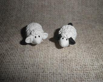 Polymer Clay Sheep/Lamb Miniatures/Gift (Pair)