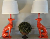 Whippet Greyhound Dog Lamps Coral Orange or custom color