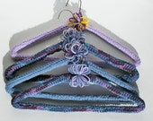 Crocheted Padded Clothes Sweater Hangers Purple Pants Metal Hangers
