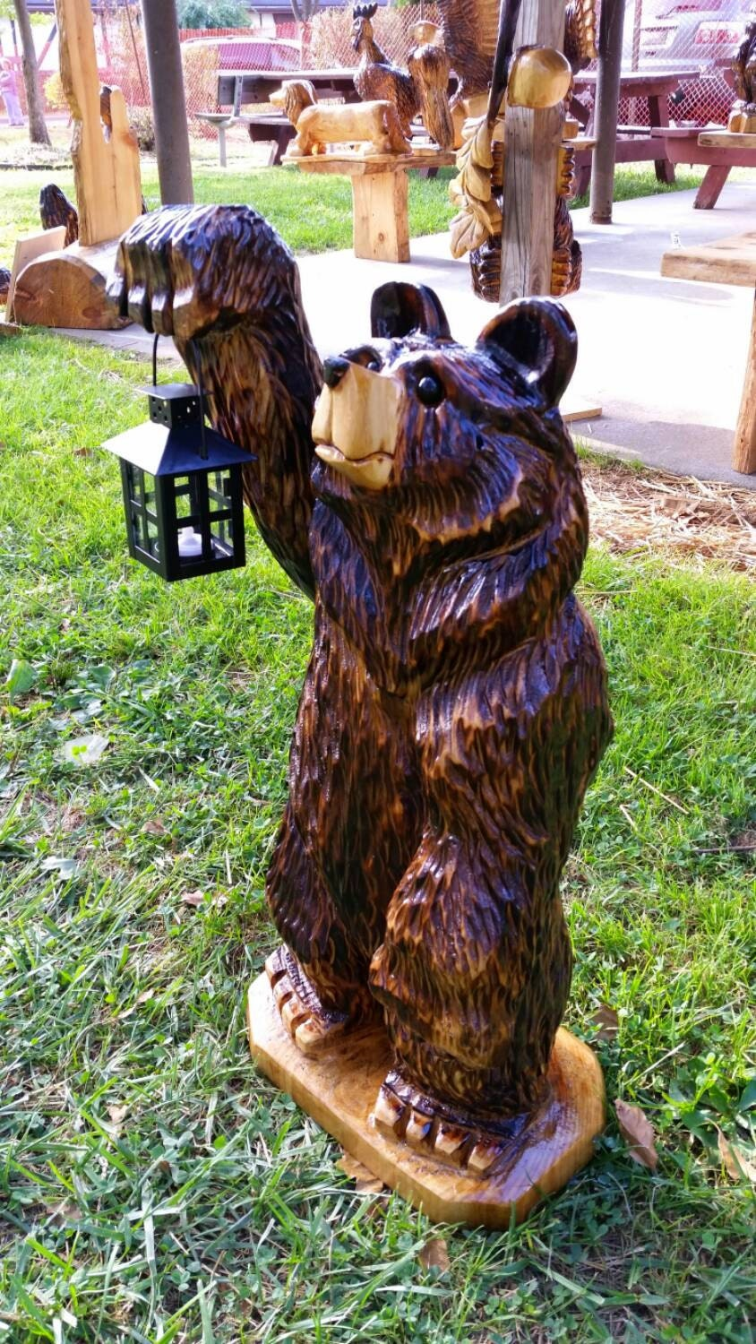 Ft chainsaw carving carved lantern bear