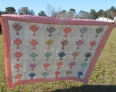 Bear Tracks Vintage Feedsack Quilt Hand Quilted 1920s Cotton Seed Quilt 38D