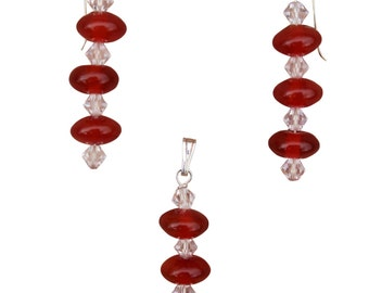 Carnelian & Swarovski Crystal Earrings and Pendant Set
