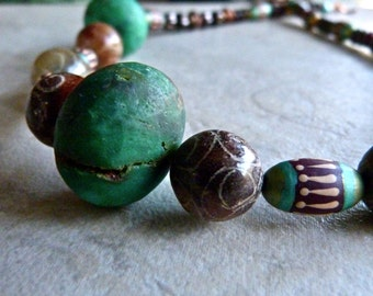 Elegant Boho Large Bead One of a Kind Brown and Green Tribal Statement Necklace and Earrings