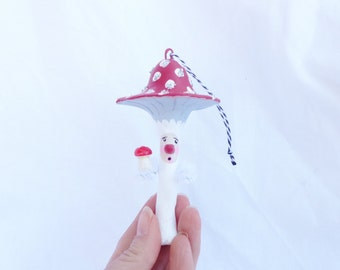 Hand Sculpted Paper Mache Red Toadstool Mushroom Man Christmas Oranament