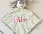 Monogrammed Easter Bunny Stuffed Animal blanket. Wee Snuggle Blankie with personalized name for Easter basket. Security blanket for baby.
