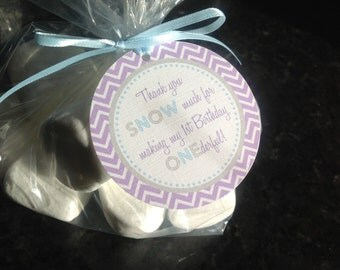 Winter Onederland First Birthday Favor Tags Set of 12