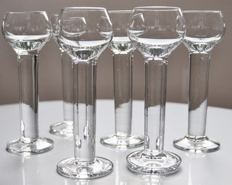 Vintage Cordial Liqueur Aperitif Glasses Set of 6 Tall 1980s PERFECT CONDITION