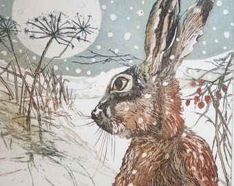 Moongazing Hare , this Hare in snow is an etching with aquatint ,