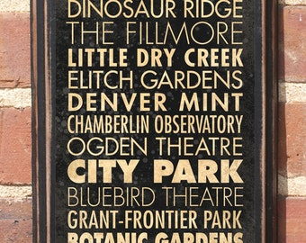 Denver CO Points of Interest & Destinations Wall Art Sign Plaque Gift Present Home Decor Vintage Style Fillmore Ogden Bluebird Antiqued