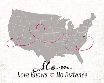 """Mothers Day Gift, Long Distance Relationship, Long Distance Family Gift, Custom Map Gift,  Sizes 5""""x7"""" up to 42""""x70"""""""