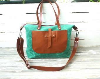 Free Express Shipping   Teal Green Waxed Canvas Weekender Bag  - Leather Double fixed and  Strap Shoulder bag / Tote Bag / Diaper Bag