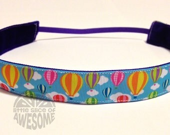 NOODLE HUGGER Non slip ribbon headband - Hot air balloons - 7/8 inch (running, working out, everyday: women and girls)