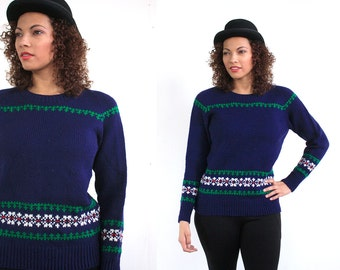 1970s Marceau Sports of Minnetonka wool sweater in navy with green and white accents // size large - extra large