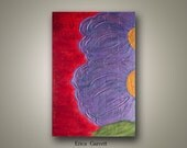 Sale - Abstract Purple Flower Painting on Canvas - Red Abstract Painting - Acrylic Flower Painting - 24x36 Abstract Original Painting