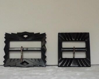 Vintage Art Deco Style Plastic Belt Buckles