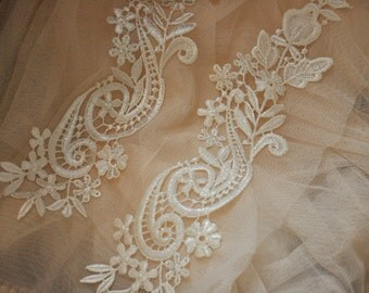 Crocheted Lace Applique in Ivory Venise Lace for Garments, Jewelry or Costume Design