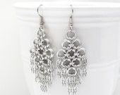 Chainmail earrings, silver aluminum chandelier earrings, dangle earrings, statement earrings, chainmaille jewelry