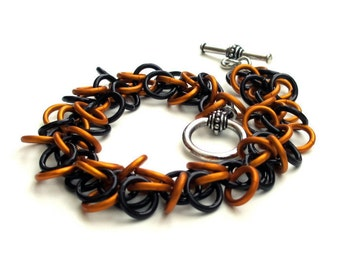 Orange & black chainmail bracelet, Shaggy Loops weave