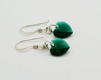 Heart Swarovski Emerald Crystals Sterling Silver Earrings