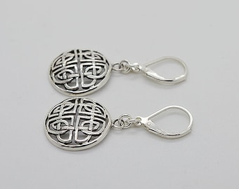 Circle Shape Sterling Silver Earrings With Lever Back 01