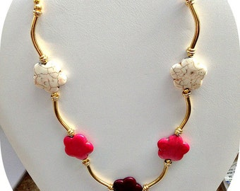 Pink, Wine, White and Gold Beaded Choker Necklace