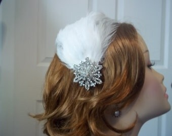 Bridal Headpiece, Feathered Bridal Comb, Frozen, Winter Bride, Feather and Rhinestone Headpiece - Anna