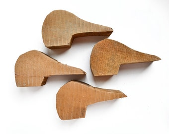 4 large primitive wooden duck heads from Elizabeth Rosen