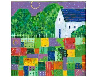ORIGINAL 20x20 PAINTING, abstract farm house, white barn, impasto, patchwork field, nursery decor,by Elizabeth Rosen