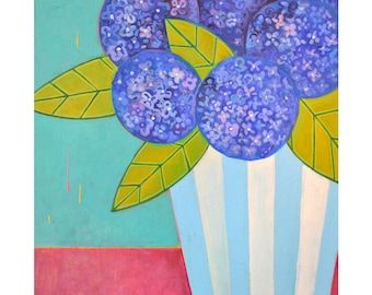 Original 30x30 painting, Hydrangeas in a vase, folk art flowers, by Elizabeth Rosen