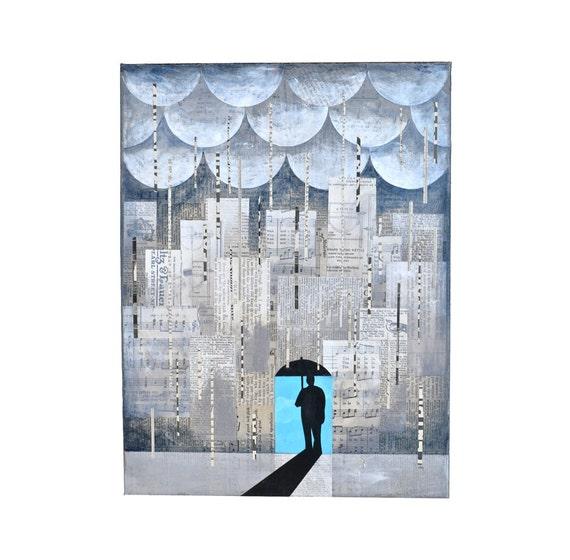 ORIGINAL PAINTING umbrella city NYC rain madmen 'Lucky' 12x16 by Elizabeth Rosen