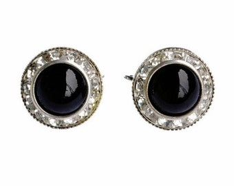 Vintage clip-on earrings - C1950's with black glass center cabochon surrounded by channel set White Rhinestones - Mid-Century Jewelry