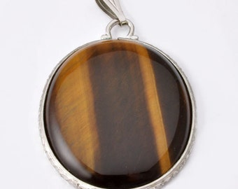 Vintage Tigers Eye Pendant in Chrome Setting - 48 Carats - Large Vintage Statement Pendant in Brown Gemstone Slice Statement Pendant