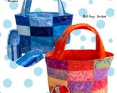 Jack & Jill Slippers and Tote Bag, .pdf pattern for Both Boy and Girls  Quilted Slippers and Tote- charm square friendly.
