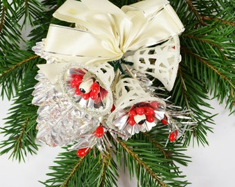 Vintage Christmas Corsage / Kitschy Christmas / Christmas Bells Corsage / Red White Corsage
