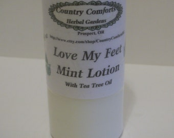 Love My Feet Mint Lotion - Jojoba Oil, Tea Tree Oil, Peppermint Essential Oil - For hot, tired feet, cooling lotion, - 4 oz bottle