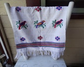 Vintage table runner wall haning woven Mexican decor