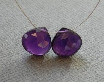 Amethyst Heart Briolette Beads, Matching Pair, Dark Purple Amethyst Briolette, Faceted Amethyst, 8x8mm, 2 Bead Set, #184