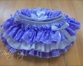 Beautiful Parley Ray Baby Girls Purple Polkadots all around Ruffle Skirt Ruffled Baby Bloomers/ Diaper Cover / Sofia Skirt