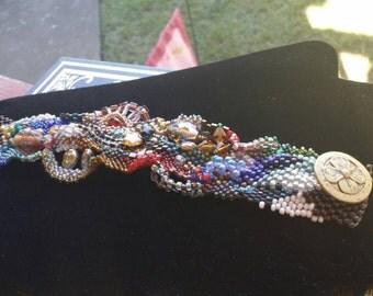 Elegant Freeform Peyote Bracelet.  Gorgeous