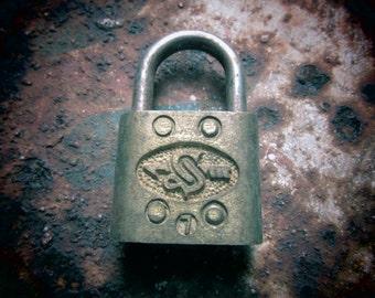 Antique Pad Lock Slaymaker RFD Metal Lock Industrial Hardware NO KEY Rustic Decor, Jewelry Supply, Supplies, Old Padlock, Vintage Lock vtg